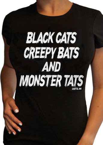 Black Cats Creepy Bats and Monster Tats Tee