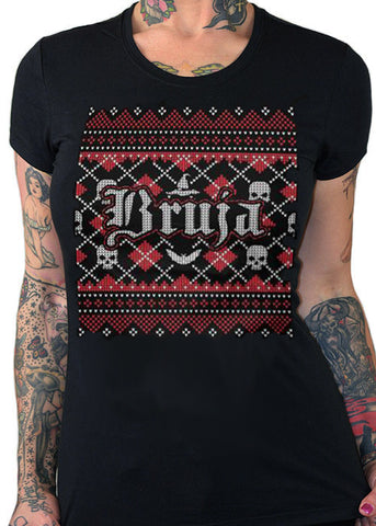 bruja ugly christmas sweater tee - cartel ink - pinky star