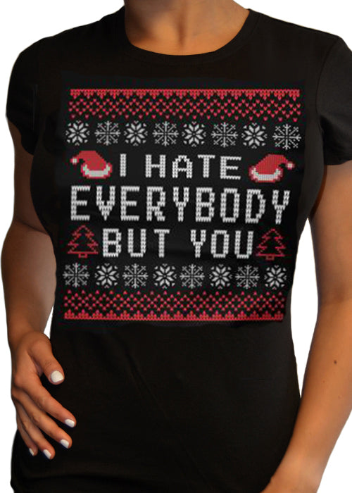 I hate everybody but you ugly christmas tee - cartel ink - pinky star