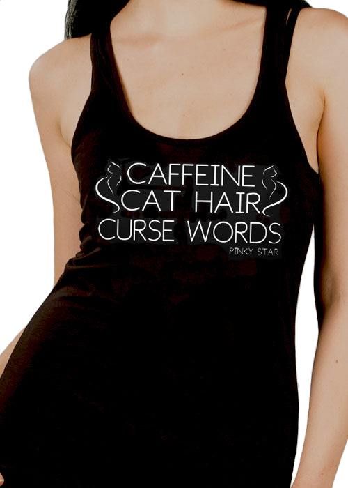 Caffeine Cat Hair Curse Words - Pinky Star