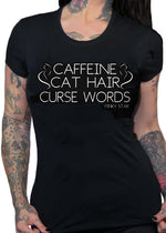 caffeine cat hairs curse words - Pinky Star