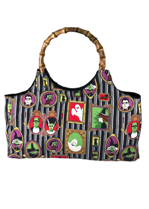 family portrait bamboo handbag - pinky star