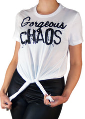Gorgeous Chaos Cropped Tied Tee In White