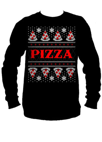 Pizza Ugly Christmas Sweater Long Sleeve Tee