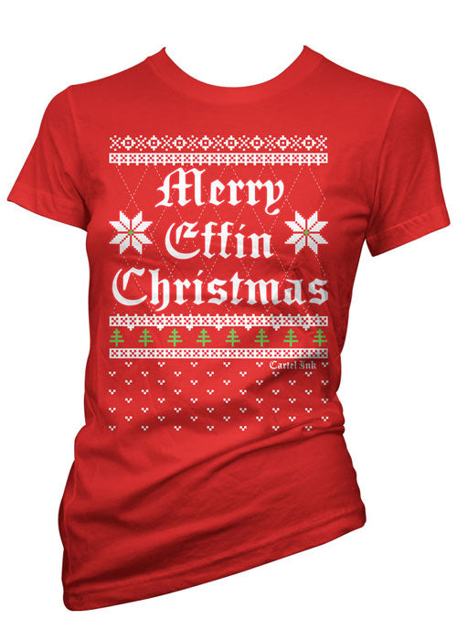 Merry Effin Christmas Ugly Sweater Tee