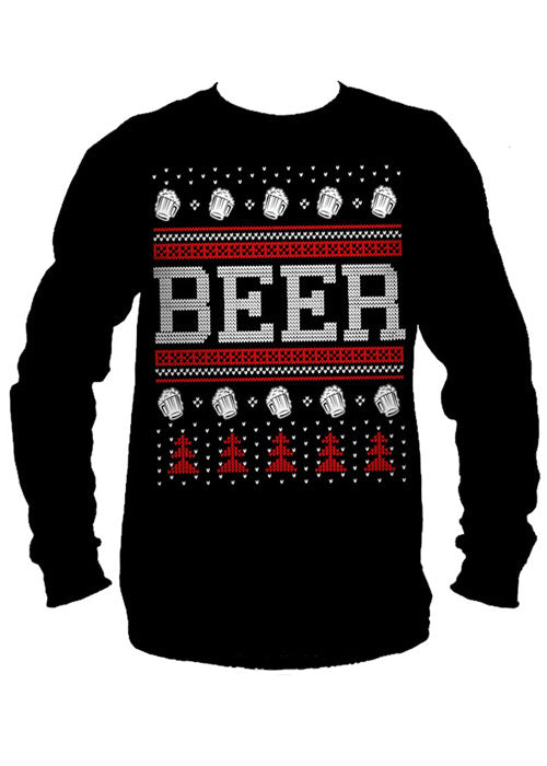 Beer Ugly Christmas Sweater Long Sleeve Tee