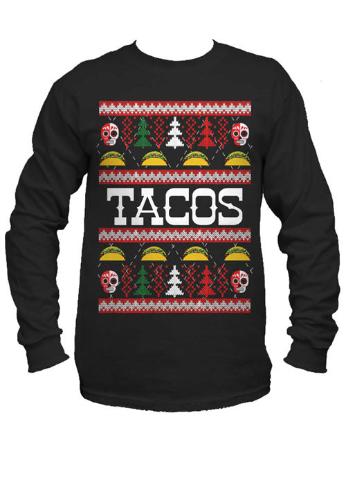 Tacos Ugly Christmas Sweater Long Sleeve Tee