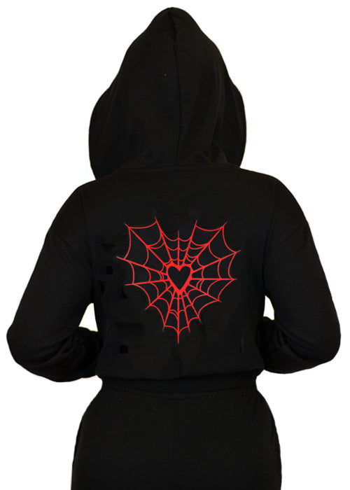 Heart Web Cropped Pullover Hoodie