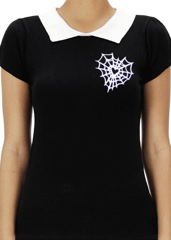 Heart Web Polo Sweater