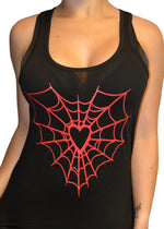 Heart web tank top - pinky star