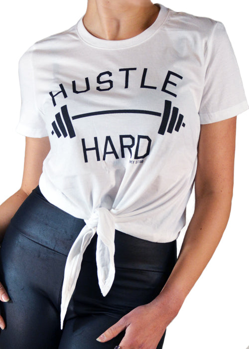 Hustle Hard Cropped Tie Tee in White