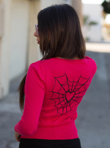 Pink Heart Web Cardigan