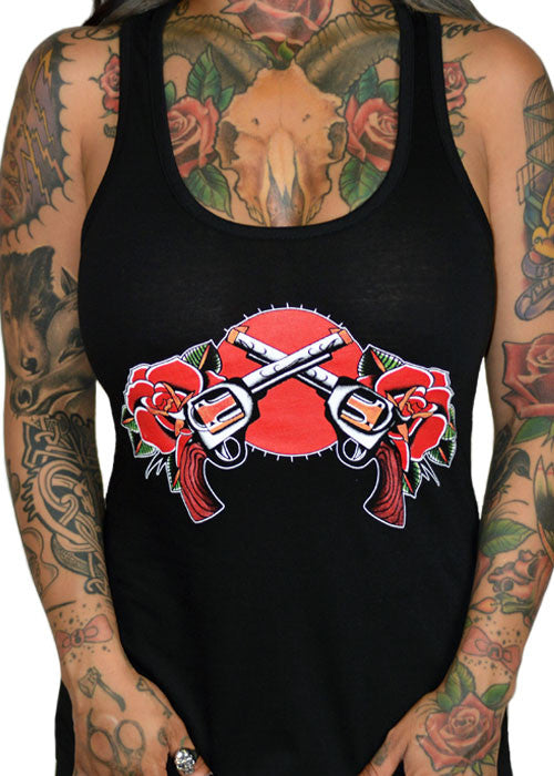 Roses And Pistols Tank Top