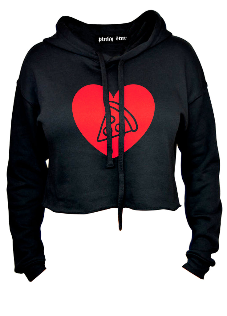 Pizza Heart Cropped Hoodie