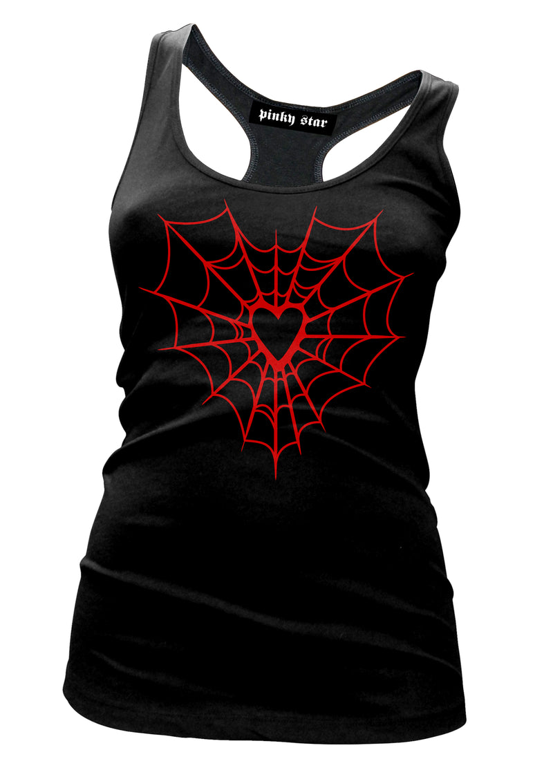 heart web tank - pinky star