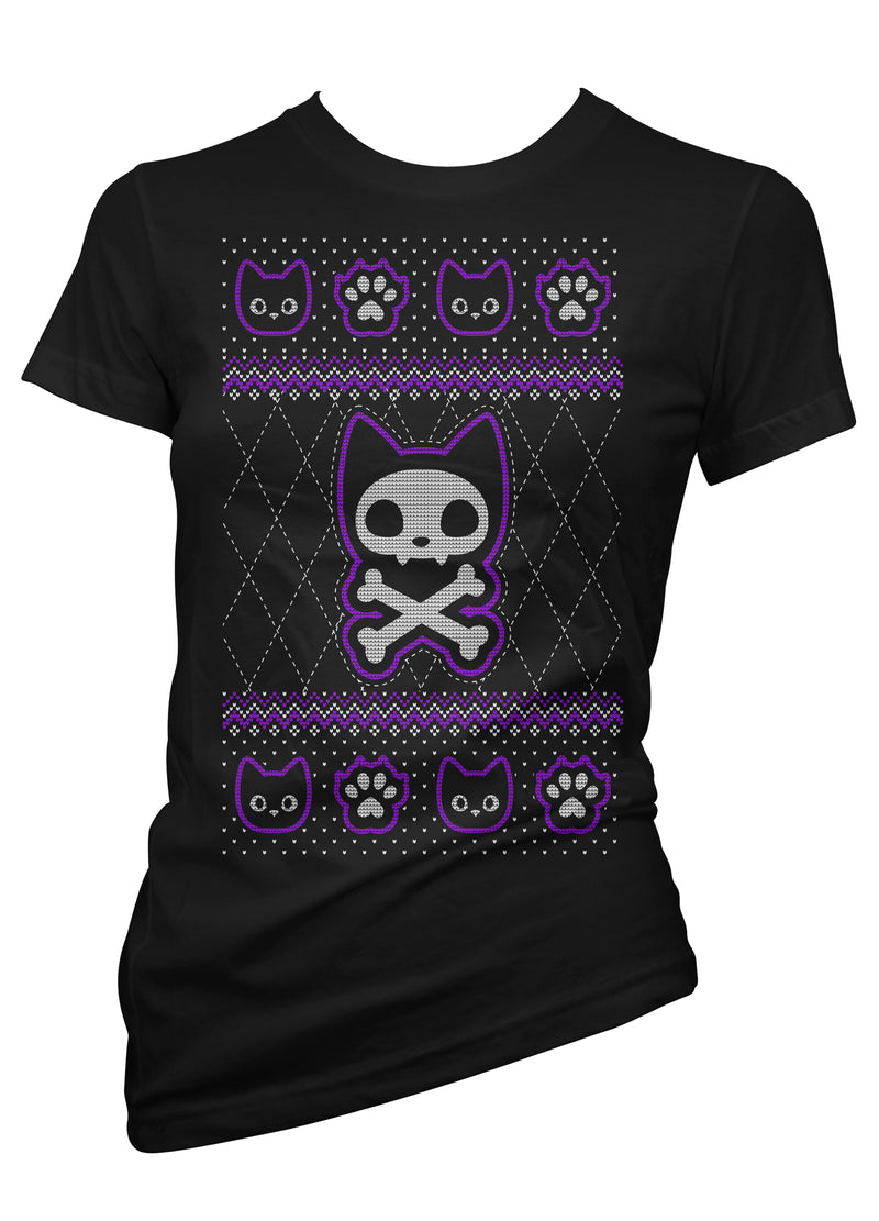 Black Cat Ugly Xmas Sweater Tee