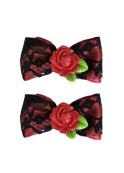 Red Rose Lace Bows