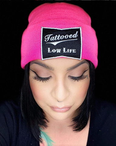 Tattooed Low Life Pink Beanie