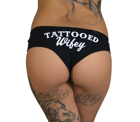 Tattooed Wifey Black Booty Shorts