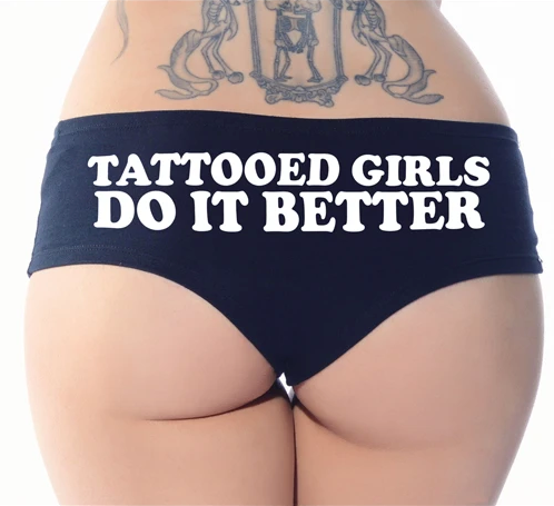 tattooed girls do it better booty shorts - cartel ink - pinky star