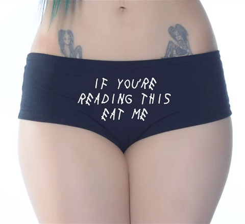 If You're Reading This Eat Me Black Booty Shorts