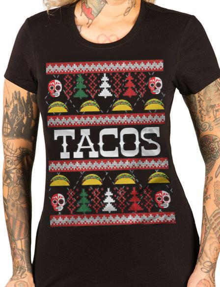 Taco Ugly Christmas Sweater Tee - cartel ink - pinky star