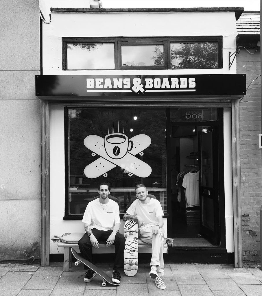 Kyle and Jack outside Beans & Boards