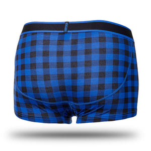Boxer court Bodyskin Swag bleu carreauté