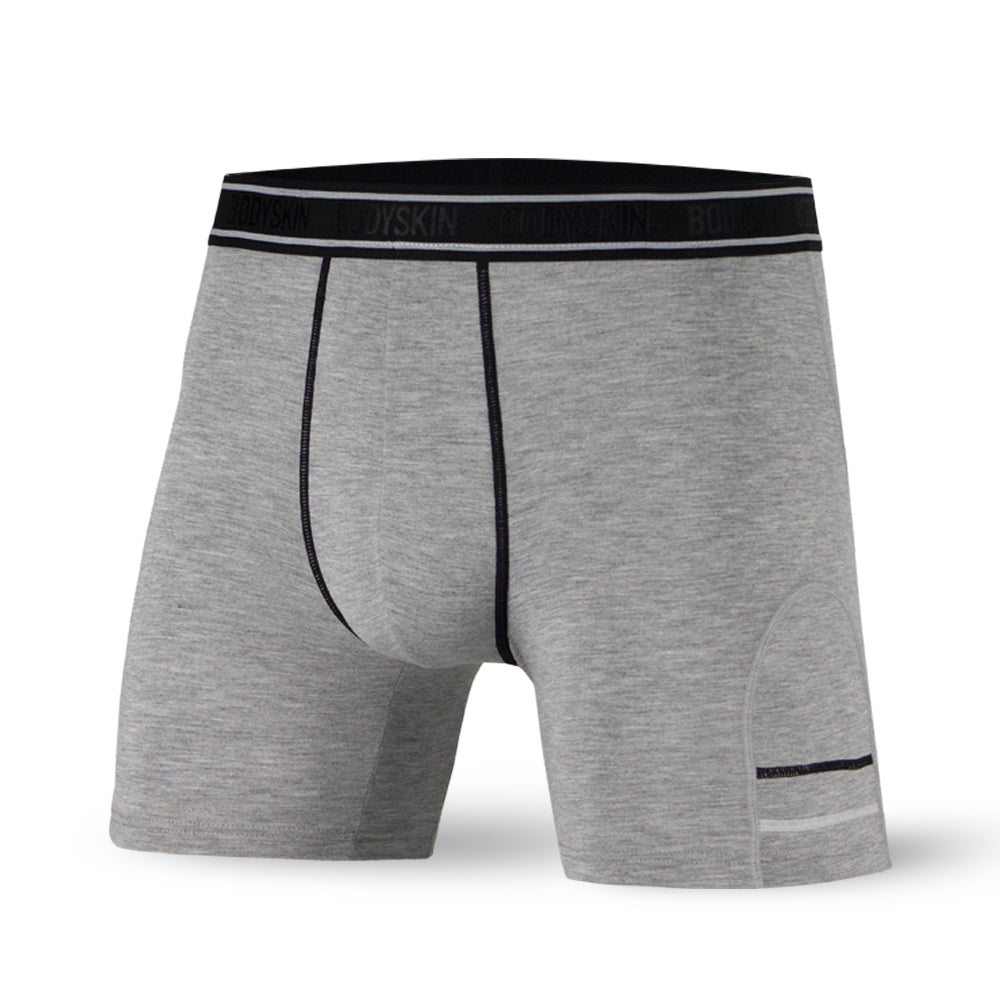 Body Skin boxer long en bambou gris