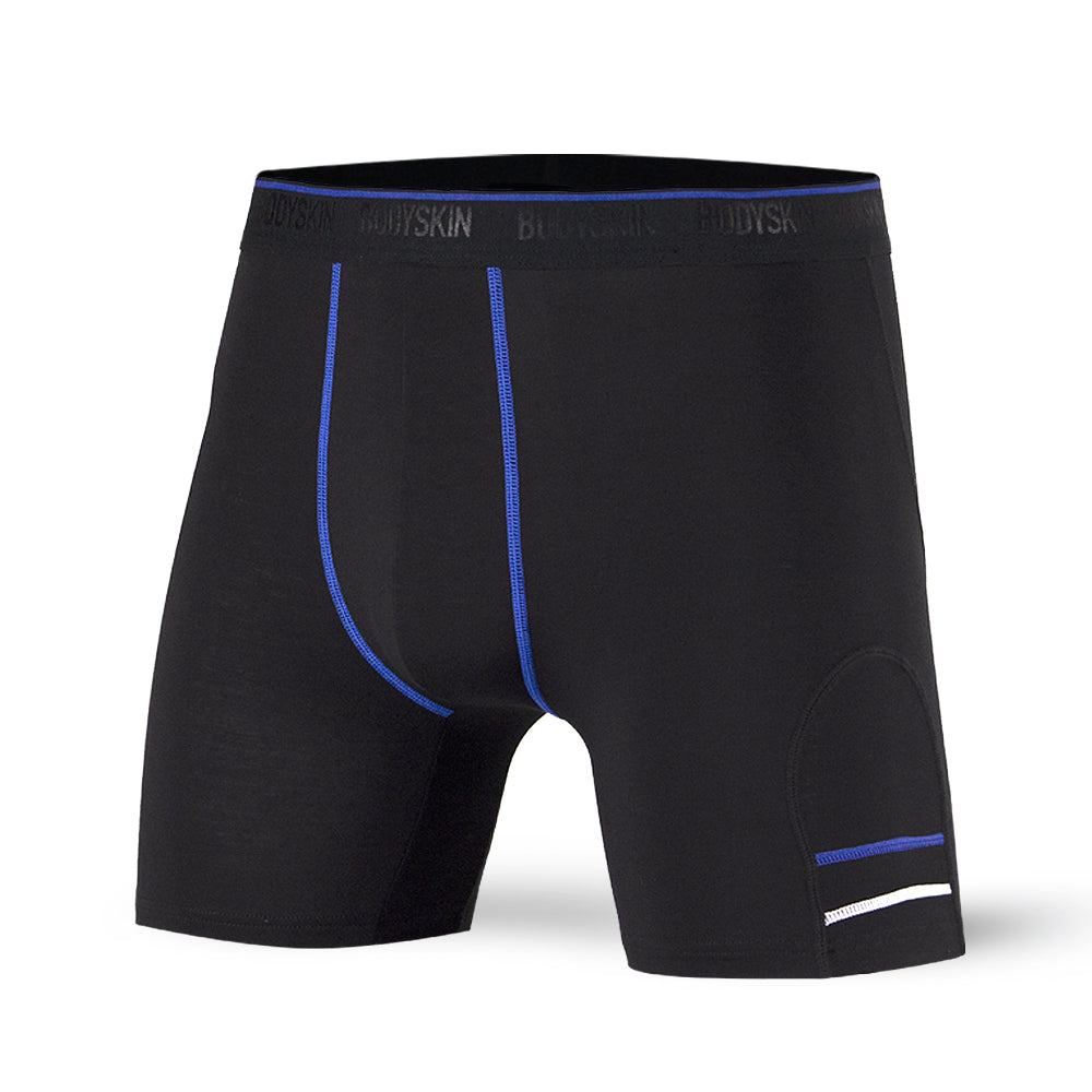 Body Skin boxer long en bambou noir et royal