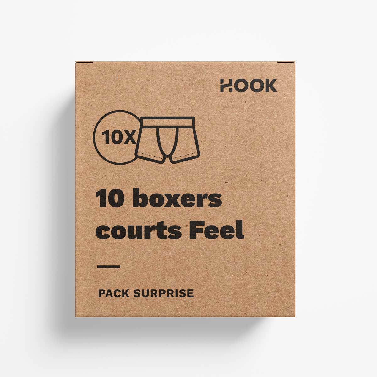 Boxer court Feel par Hook : pack de 10 boxers courts
