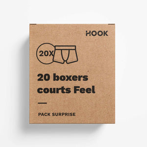 Boxer court Feel par Hook : pack de 20 boxers courts