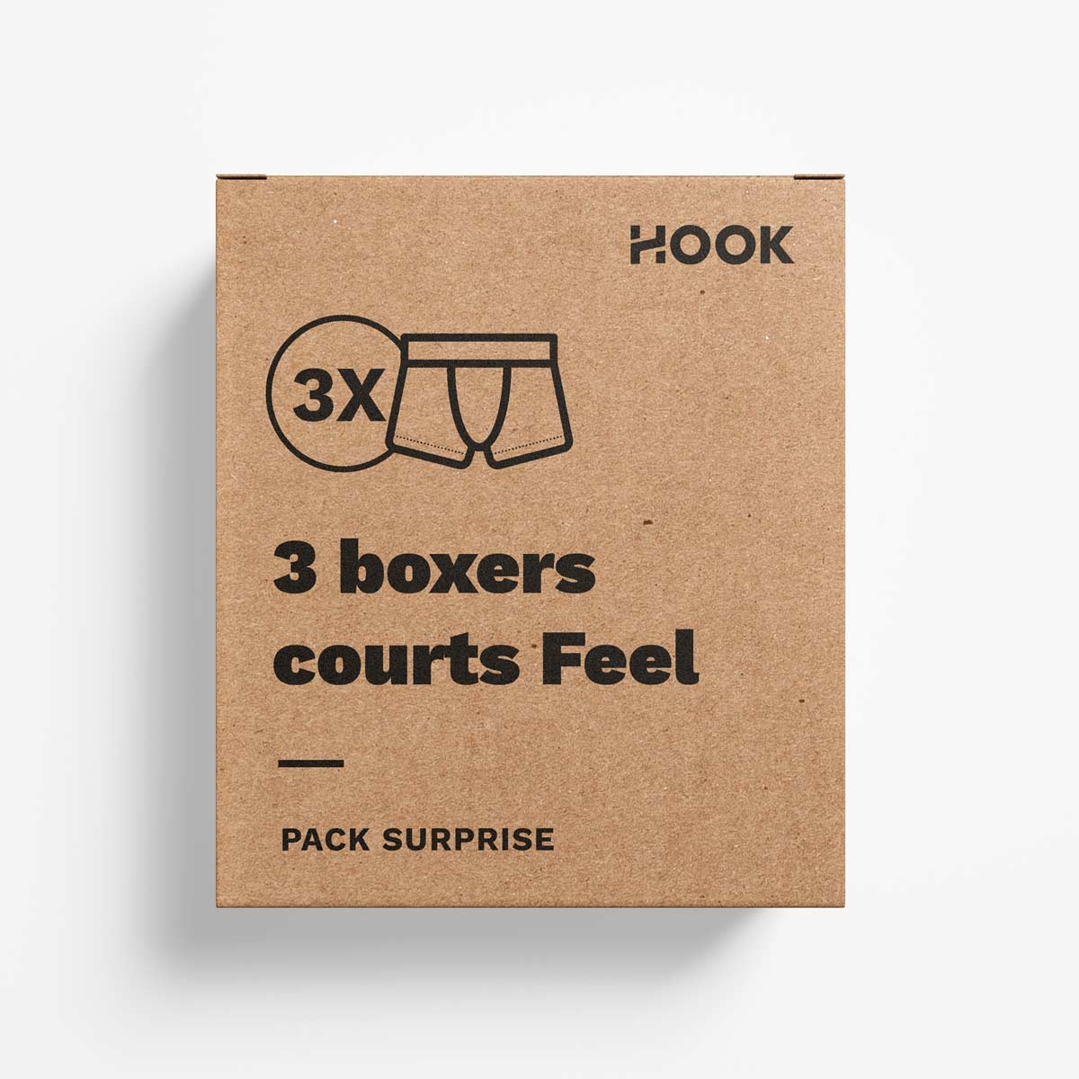 Boxer court Feel par Hook : pack de 3 boxers courts