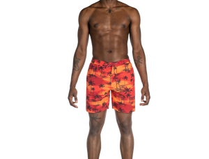 "Maillot de bain Saxx Cannonball 2N1 7"" Red Palm Sunset"