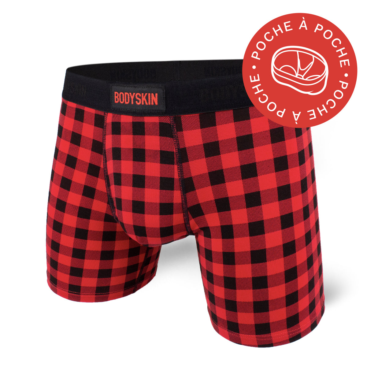 Boxer Bodyskin Lucky avec poche check red