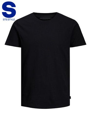 T-shirt Linen basic crew neck black reg