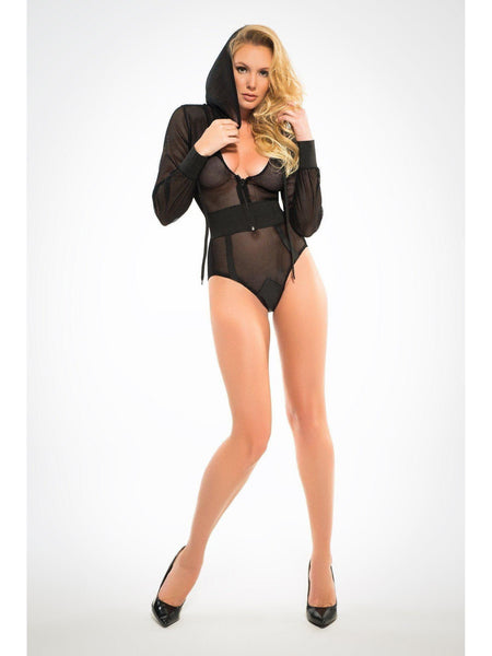 A1021 Women 's Fishnet Bodysuit with Hoodie and Cut Out Back Allure Lingerie를 좋아합니다.