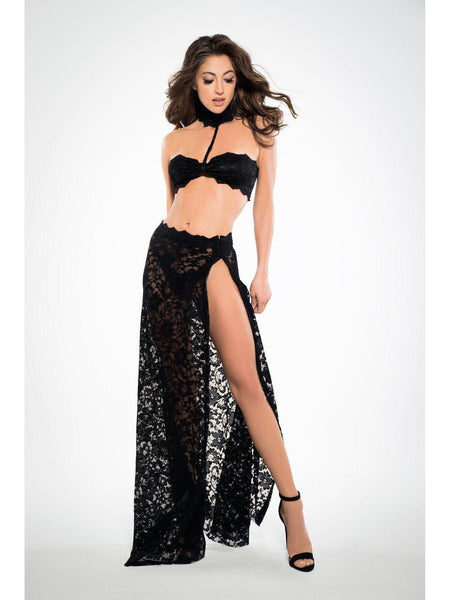 A1033 여성용 See Through Me 레이스 Bandeau Top and Skirt Allure Lingerie