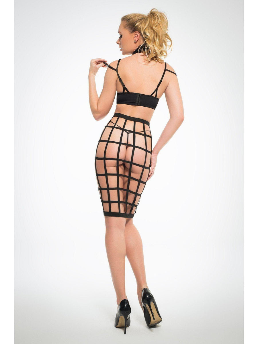 Adore A1034 Women's Luscious Cage Skirt with Provocative Lace Bra Allure Lingerie
