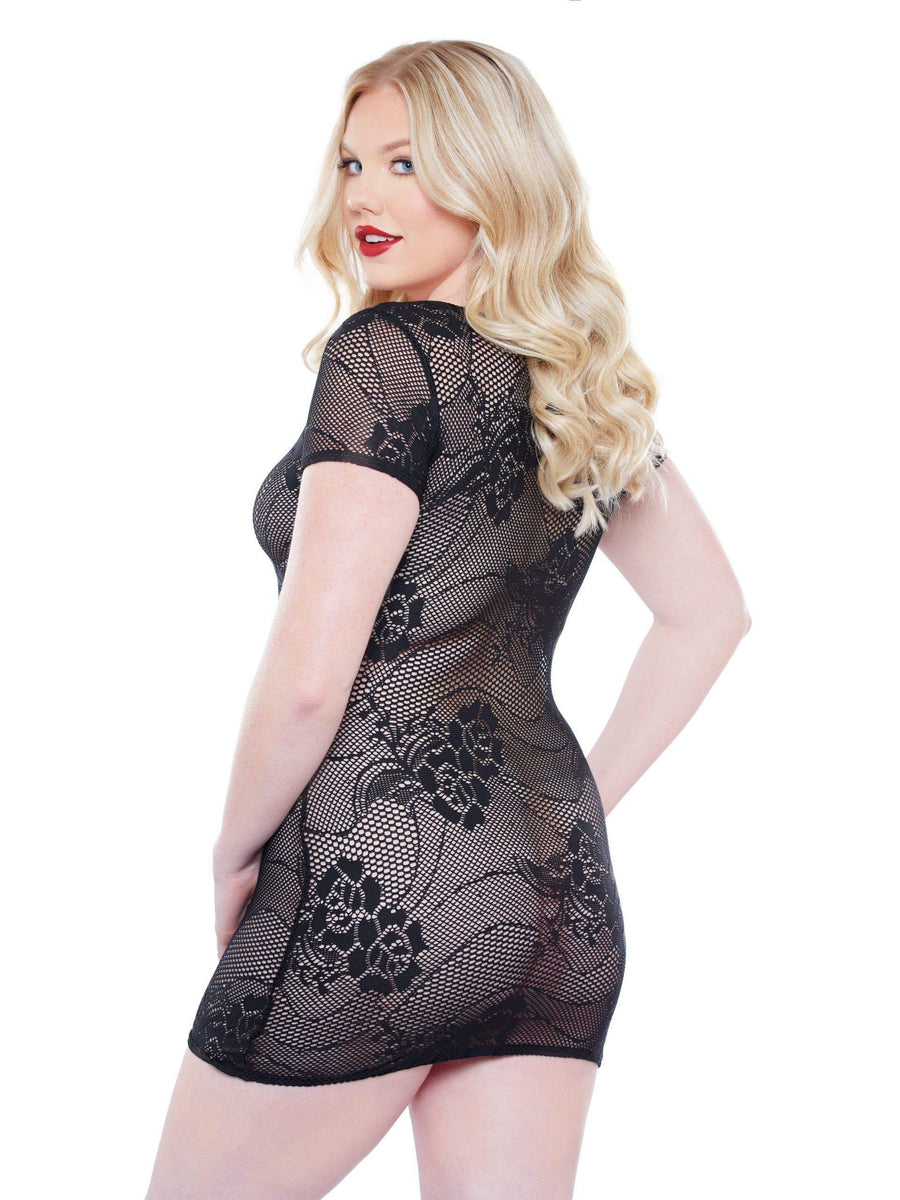 Allure 17-0012XK Charli Dress, birichino super mini che abbraccia tutta la tua curva-Mini Dress-Allure Lingerie-Black-O / S-SatinBoutique