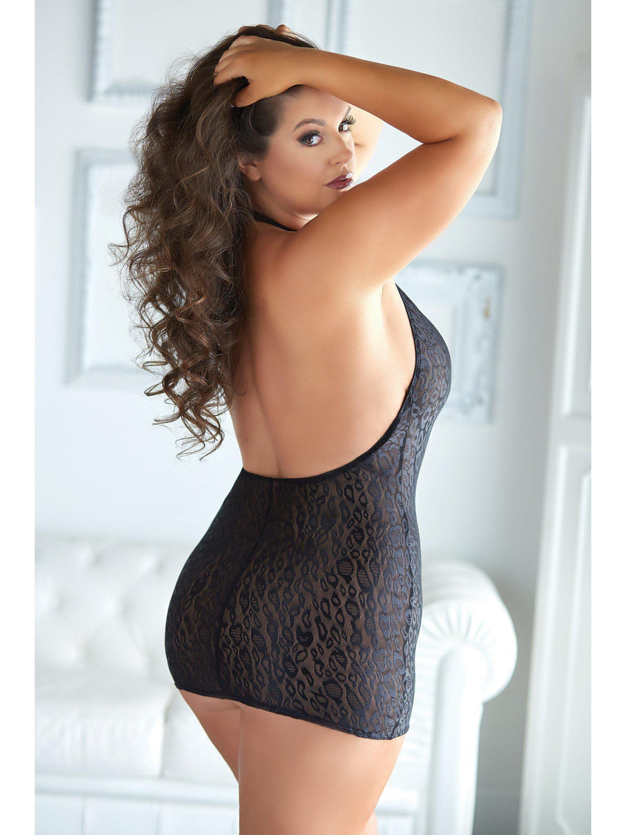 Allure IS-17-4102 Felicity Leopard & Mesh Halter Dress, taglia 2 / 3X-ABITI-Allure Lingerie-Nero-2X / 3X-SatinBoutique