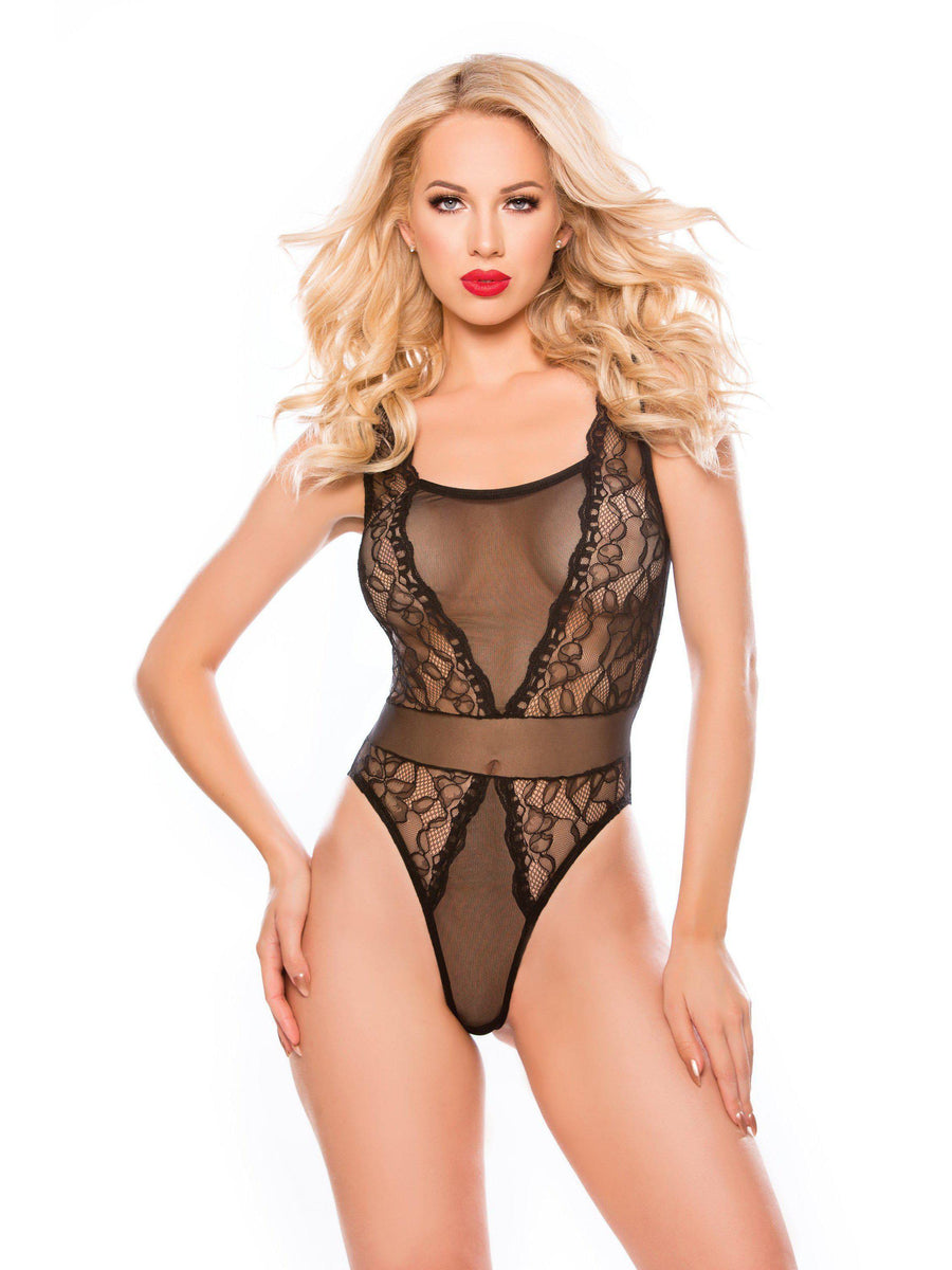 Allure Lingerie 4-1372K Rosalie Sheer Mesh & Galloon Lace Teddy Allure Lingerie