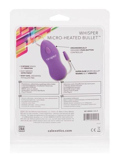 Cal Exotics Whisper Micro Heated Bullet - Purple-Whisper Micro Heated Bullet-Eldorado-SatinBoutique