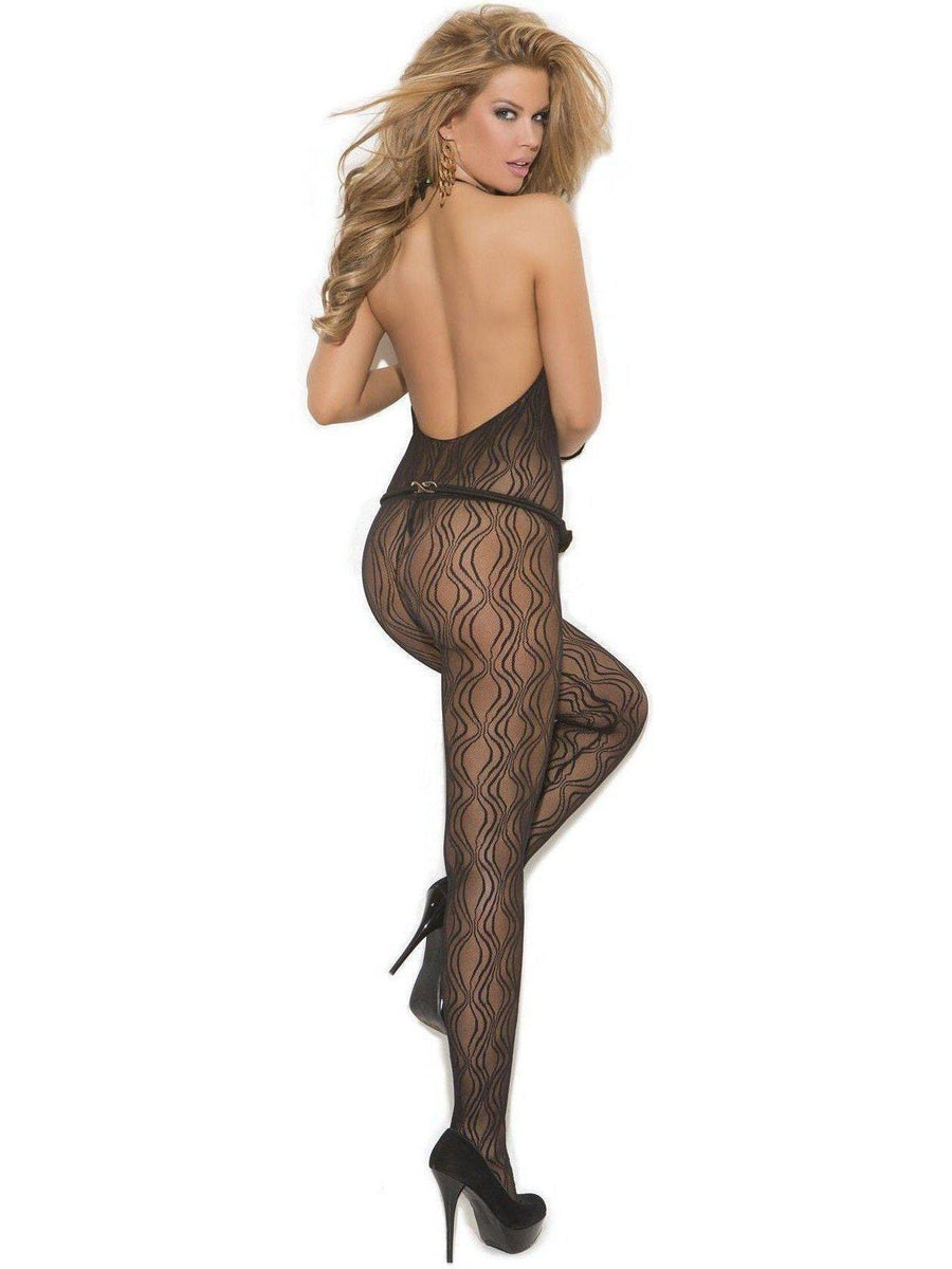 Elegant Moments  EM-1602 Swirl Lace Halter Bodystocking with open crotch Elegant Moments