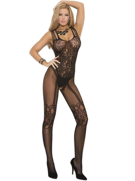 Elegant Moments EM-1689 Kalaverkko avoin haara bodystocking Myös plus size Elegant Moments