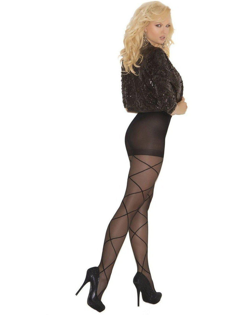 Elegant Moments EM-1841 Sheer pantyhose with criss cross detail Elegant Moments