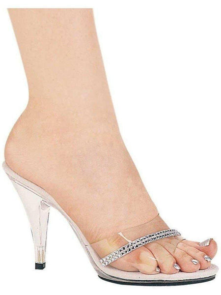 Ellie Shoes E-405-Jesse 4 Heel Clear Mule med Rhinestones Ellie Shoes