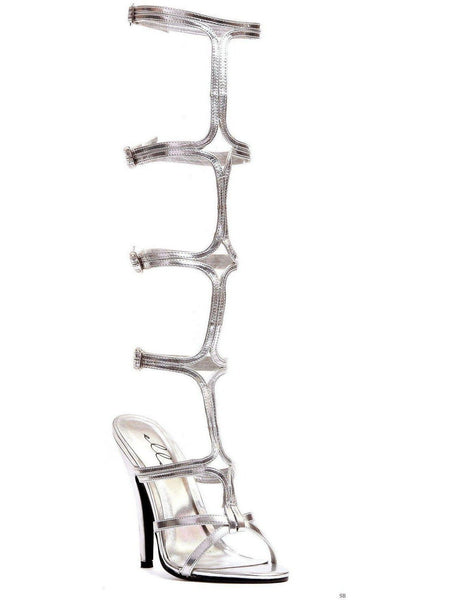 """Ellie Shoes IS-E-510-Sexy 5 """"Heel Knee High Strap Up Sandal, Silver 8, Gold 10 Ellie Shoes"""