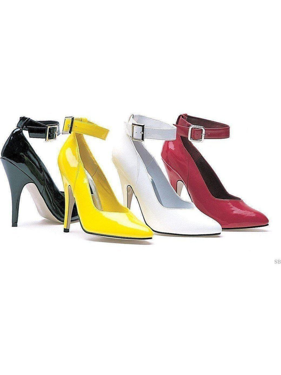 "Ellie Shoes IS-E-8221 5"" Heel Pump With Ankle Strap, Colors Yellow, & Black Ellie Shoes"