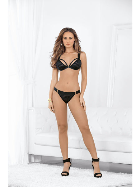 Escante 61003 Playful Stripped Bra & Open Butt Panty-bra and panty set-Escante-S-Black / Gold-SatinBoutique
